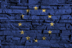 European Union & x28; EU & x29; flag painting on high detail of old brick wall . 3D illustration.  Royalty Free Stock Photography