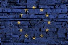 European Union & x28; EU & x29; flag painting on high detail of old brick wall . 3D illustration. European Union & x28; EU & x29; flag painting on high Royalty Free Stock Photography