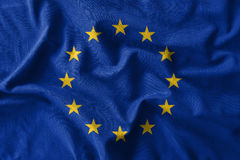 European Union & x28; EU & x29; flag painting on high detail of wave cotton fabrics . 3D illustration.  Stock Photos