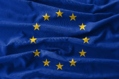 European Union & x28; EU & x29; flag painting on high detail of wave cotton fabrics . 3D illustration Stock Photo