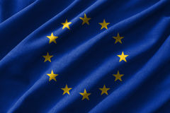 European Union & x28; EU & x29; flag painting on high detail of wave cotton fabrics . 3D illustration.  vector illustration