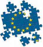 European union EU flag puzzle on the white background Stock Images