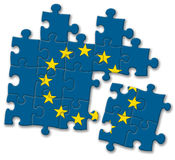 European union EU flag puzzle on the white background Stock Photos