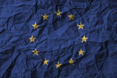 European Union & x28; EU & x29; with high detail of old dirty crumpled paper . 3D illustration Royalty Free Stock Images