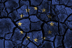European Union & x28; EU & x29; painting on high detail cracked ground . 3D illustration Stock Photo
