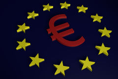 European Union Euro Sign and Stars. A red Euro currency sign surrounded by the twelve stars of the European Union set against a dark blue background Stock Photo
