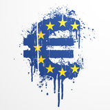 European Union Euro splatter element. Vector illustration of a conceptual ink splatter in the shape of the European Union Euro currency symbol Royalty Free Stock Photography