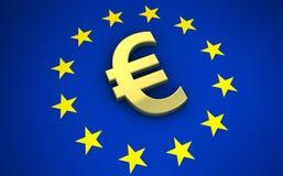 European Union Euro Symbol. European Union eurozone concept with golden euro symbol 3D illustration Stock Image