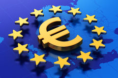 European Union financial concept. Creative abstract European Union money currency financial business commercial concept: 3D illustration of gold Euro symbol or Royalty Free Stock Photos