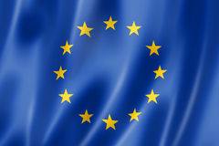 European union flag. Three dimensional render, satin texture Stock Photos