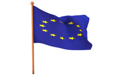 European Union flag in 3d Royalty Free Stock Photo