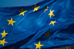 European union flag. Flag in wind, close up shot Stock Photography
