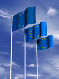European Union flag. The flag of the European Union flying in a breeze royalty free illustration