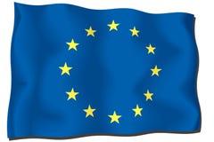 European Union Flag. EU Flag waving in the wind stock illustration