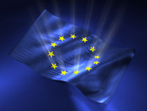 European Union Flag. With lights from stars. 3D illustration Stock Illustration