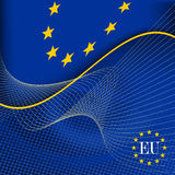 European Union flag. Blue and yellow european union flag Stock Photos