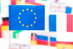 European Union flag against flags of EU members Stock Image