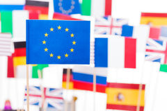 European Union flag against flags of its members Stock Image