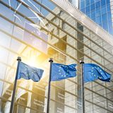 European union flag against parliament in Brussels Royalty Free Stock Photography