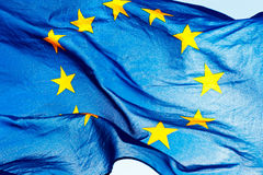 European union flag against the sky. And sunlight Royalty Free Stock Image
