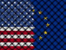 USA EU interwoven flags illustration. European Union flag and American flag interwoven in abstract 3d illustration Royalty Free Stock Photography