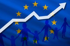 European Union flag on a background of  growing arrow up and people with children holding hands. Demographic growth of the country Royalty Free Stock Image