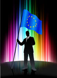 European Union Flag with Businessman on Abstract Spectrum Backgr Royalty Free Stock Photo