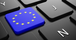 European Union - Flag on Button of Black Keyboard. Royalty Free Stock Photo