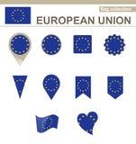 European Union Flag Collection. 12 versions vector illustration