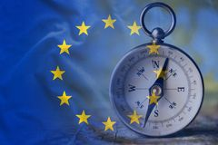 European Union flag and the compass royalty free stock image