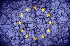European Union flag on cracked texture background. Royalty Free Stock Image