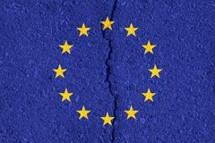 European Union flag on cracked wall texture background. Royalty Free Stock Photography