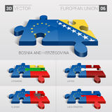European Union Flag. 3d vector puzzle. Set 06. European Union and Bosnia and Herzegovina, Lithuania, Latvia, Albania, Liechtenstein Flag. 3d vector puzzle. Set Royalty Free Stock Photos