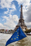 European Union flag and Eiffel tower Royalty Free Stock Photo