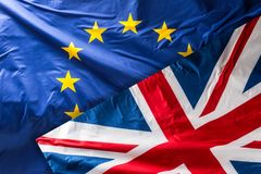 European Union flag.  EU Flag blowing in the wind.  Stock Photography