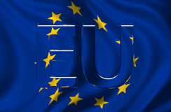 European Union Flag with EU text. Flag of the European Union Billowing in the Wind with glass/shiny EU text Stock Images