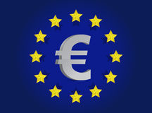 European union flag and euro symbol illustration Royalty Free Stock Photos