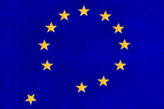 European Union flag falling apart Stock Image