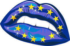 European Union Flag in female lips Stock Images