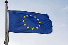 The European union flag on flagpole Stock Images