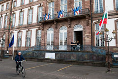 The European Union Flag flies at half-mast. STRASBOURG, FRANCE - 14 Nov 2015: The European Union Flag flies at half-mast in front of the Strasbourg City Hall Royalty Free Stock Photography