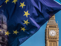 European Union flag in front of Big Ben, Brexit EU Royalty Free Stock Photos