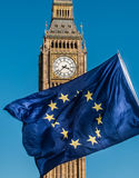 European Union flag in front of Big Ben, Brexit EU Stock Photography