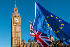 European Union flag in front of Big Ben, Brexit EU Royalty Free Stock Image