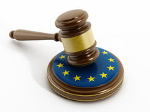 European Union flag on gavel Royalty Free Stock Photography