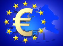 European Union flag with golden Euro currency symbol , 3d render. Illustration of a map of European union and EU flag Stock Images