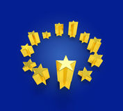 European Union flag golden stars. A design come from the EU flag with gold stars rise up at different high like bar chart or pillars. Metaphor for economy stock illustration