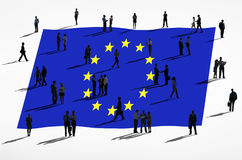 European Union Flag and Group Of People. European union and a group of people Stock Photo