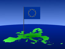 European Union flag on map Stock Image