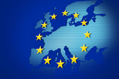 European Union. Flag and map Royalty Free Stock Photo